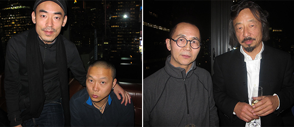 Left: Artists Zhang Ding and He An. Right: Artists Shen Chen and Huang Rui.