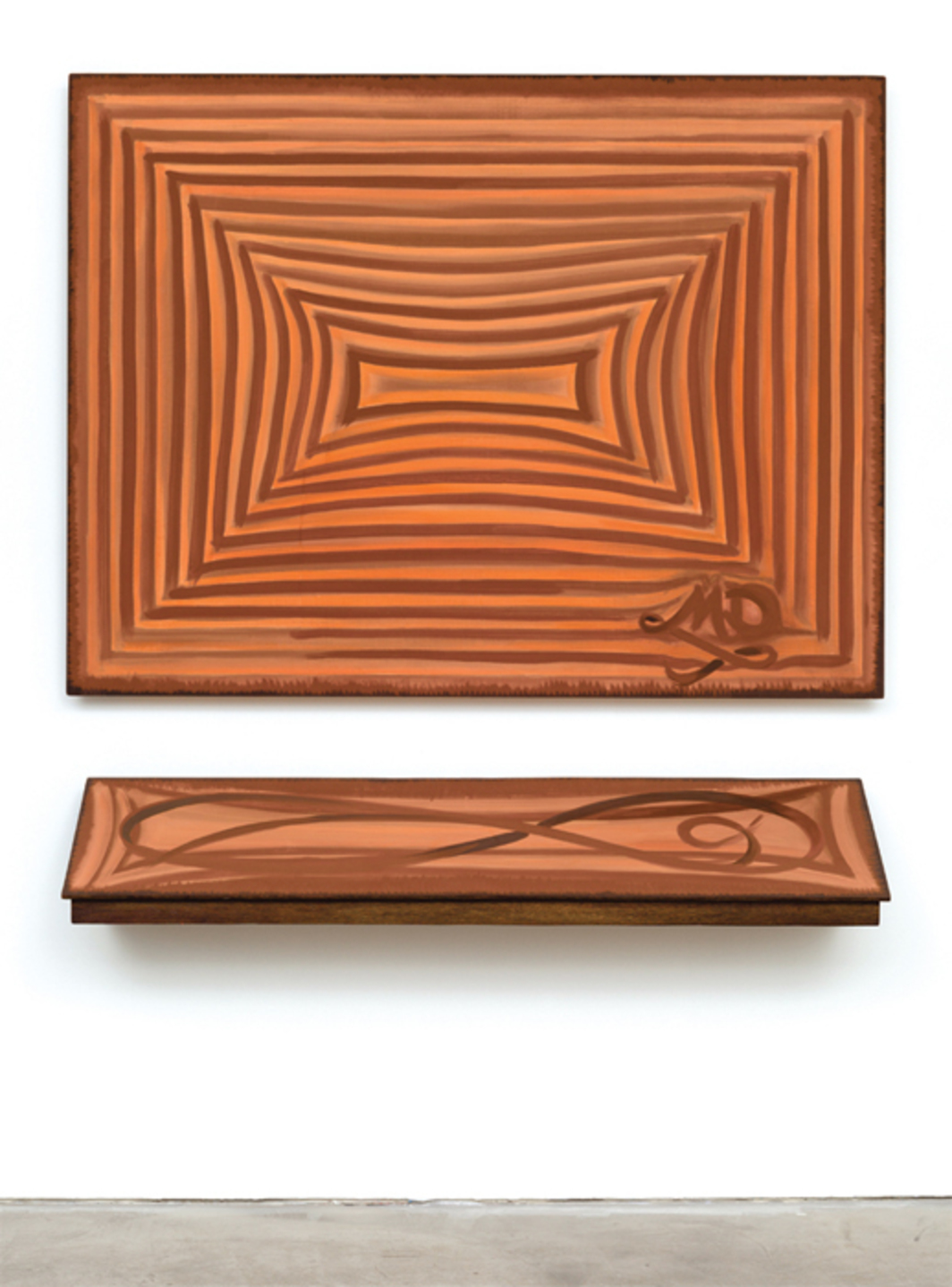 "Moira Dryer, The Signature Painting, 1987, casein on wood; top: 48 x 63"", bottom: 10 x 60""."