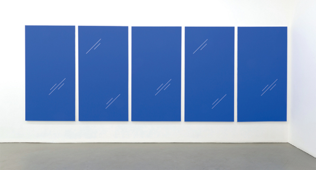 "Paul Cowan, five works from the series ""BCEAUSE THE SKY IS BULE,"" 2013–, chroma-key blue paint on canvas, each panel 78 x 41""."