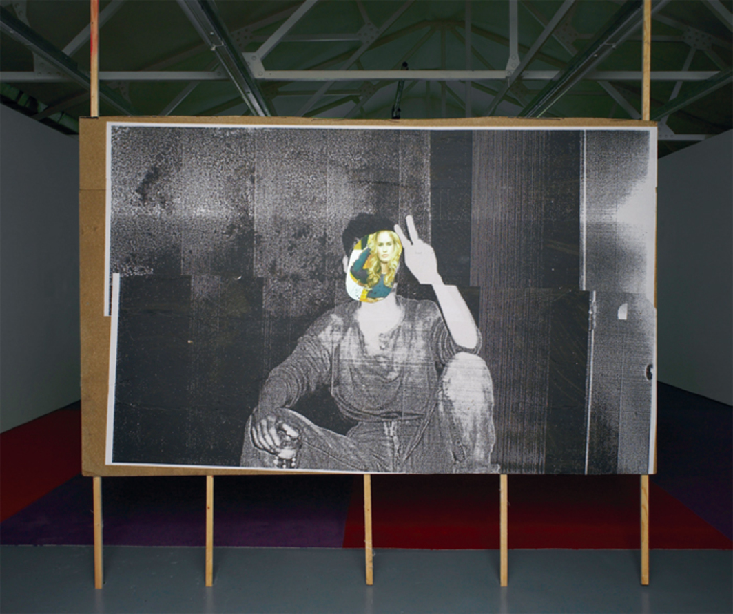 "Erik van Lieshout, Stephan, 2013, black-and-white photocopies on particleboard, wood, 10' 6"" x 8' 2 3/8"" x 2 3/8""."