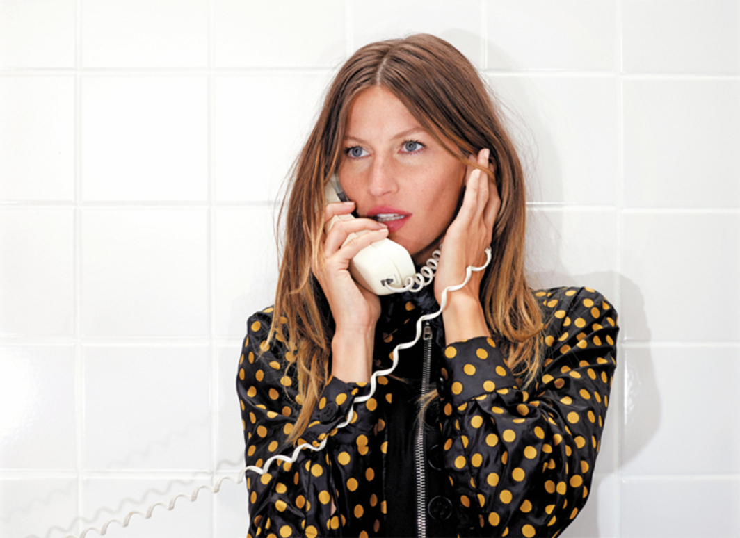 "Roe Ethridge, Gisele on the Phone, 2013, C-print, 34 7/8 x 45 3/4""."