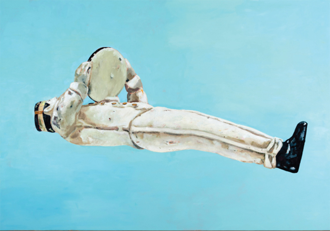 "Marc-Antoine Fehr, Der Verschollene (The Man Who Disappeared), 2013, oil on canvas, 9' 1/4"" x 13' 1 1/2""."
