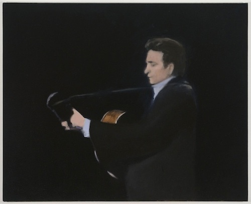 "Jordan Kantor, Untitled (The Guitar Player), 2013–2014, oil on canvas, 26 x 32""."