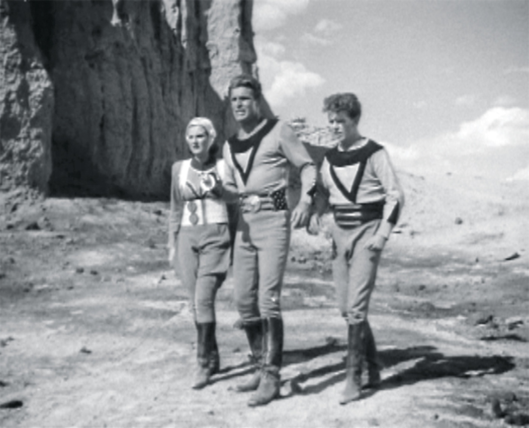 "*Ford Beebe and Saul A. Goodkind, _Buck Rogers_, 1939*, 35 mm, black-and-white, sound, 237 minutes. From left: Wilma Deering (Constance Moore), Buck Rogers (Buster Crabbe), George ""Buddy"" Wade (Jackie Moran)."