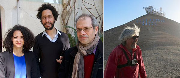 Left: Marrakech Biennale artistic director Alya Sebti with biennale visual arts curator Hicham Khalidi and literature curator Driss Ksikes. Right: Artist Alexander Ponaromev. (All photos: Linda Yablonsky)
