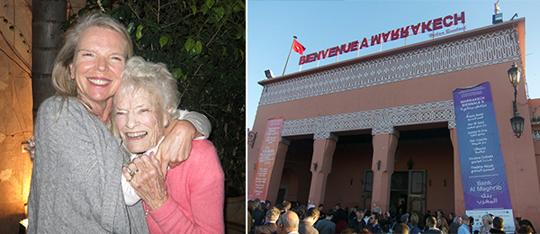 Left: Marrakech Biennale founder Vanessa Branson with her mother, Eve Branson. Right: Bank Al Maghrib on Jemaa El Fna Square.