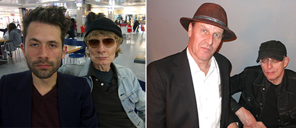 Left: Freq_Out artists Jacob Kierkegaard and J.G. Thirwell. Right: Carl Michael von Hausswolff and Leif Elggren, the Kings of Elgaland-Vargaland.