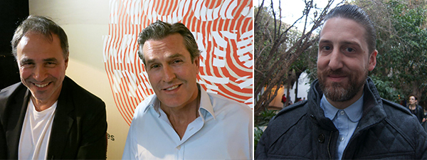 Left: Author Anthony Horowitz and actor-writer Rupert Everett. Right: Dealer Paul-Aymar Mourgue d'Algue.
