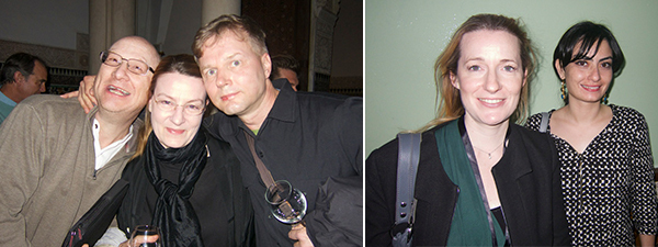 Left: Freq_Out members Mike Harding, Christine Oedlund and Tommy Gronlund. Right: Alliances Foundation curators Alexandra Balafrej and Meriem Berrada.