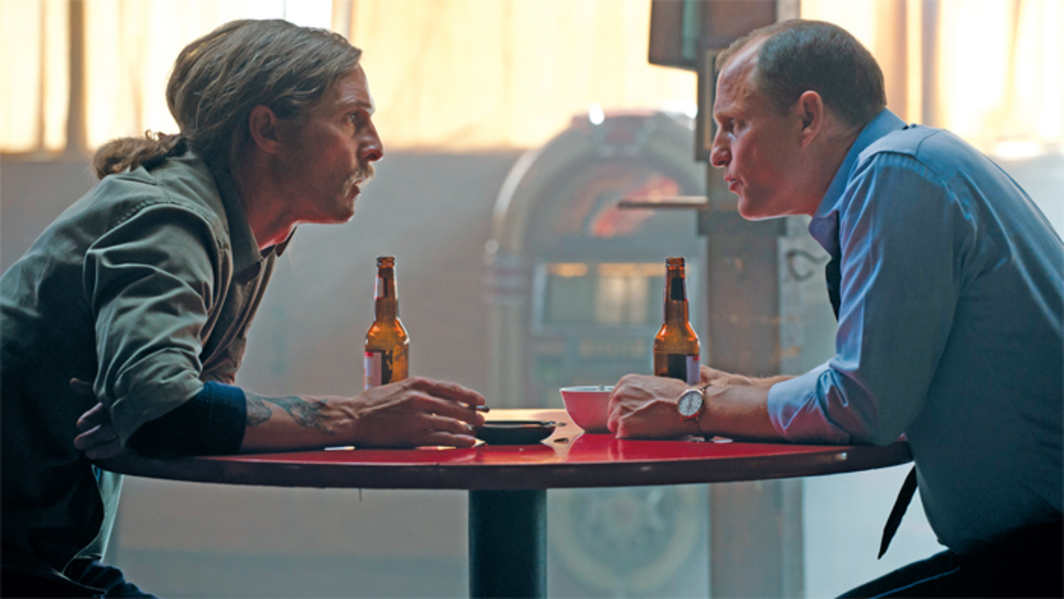True Detective, 2014, production still from a TV show on HBO. Detective Rust Cohle (Matthew McConaughey) and Detective Marty Hart (Woody Harrelson). Photo: Lacey Terrell.