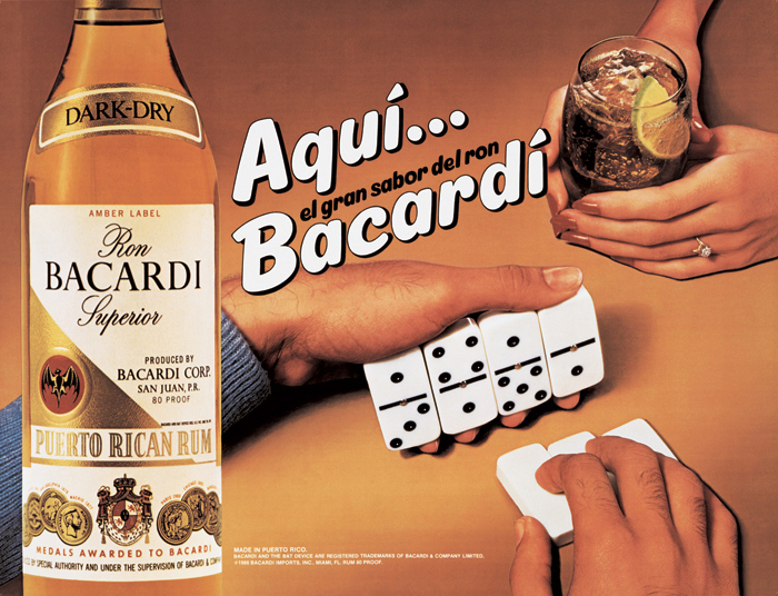 "Jeff Koons, Aqui Bacardi, 1986, oil inks on canvas, 45 x 60""."