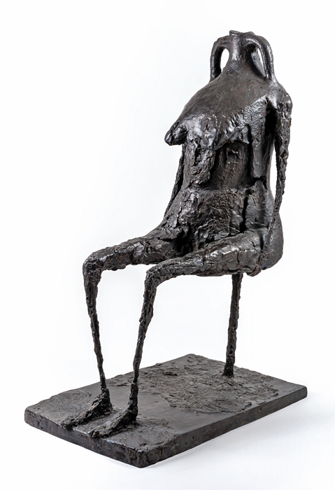 "Germaine Richier, L'Eau (Water), 1953–54, dark patinated bronze, 57 1/2 x 24 3/4 x 39 3/4""."