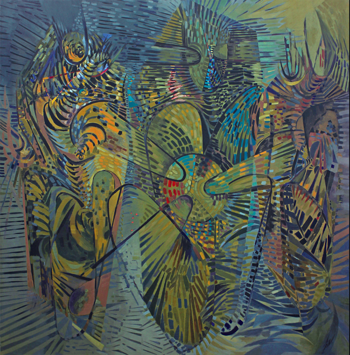 "Wolfgang Paalen, Les Cosmogones, 1944, oil on canvas, 96 x 93""."