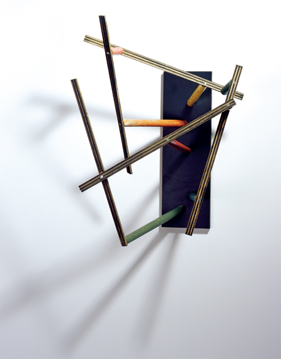 "Al Taylor, Untitled: (Latin Studies), 1985, acrylic on plywood and enamel on wooden broomsticks mounted on Formica, 25 x 17 1/2 x 15 1/2"". From the series ""Latin Studies,"" 1984–85."