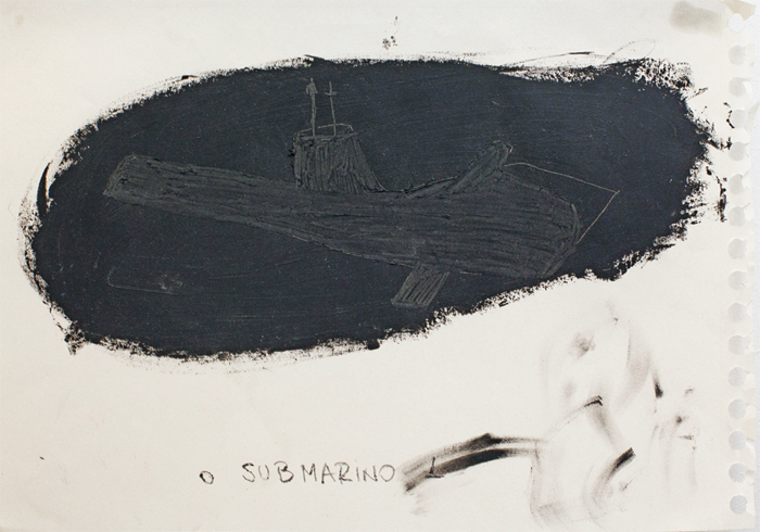 "Renata Har, Submarine, 2012, drypoint print and oil pastel on paper, 8 1/4 x 11 3/4""."