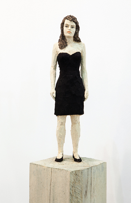 "Stephan Balkenhol, Frau in schwarzem Kleid (Woman in Black Dress), 2013, painted wood, 67 x 7 7/8 x 7 7/8""."