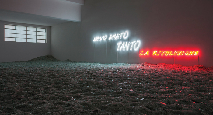 Alfredo Jaar, Abbiamo amato tanto la rivoluzione (We Loved It So Much, the Revolution), 2013, glass, neon, dimensions variable.