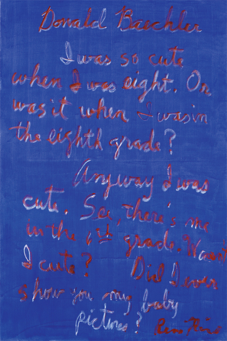 "Rene Ricard, Donald Baechler, 2000, oil on linen, 72 x 48""."