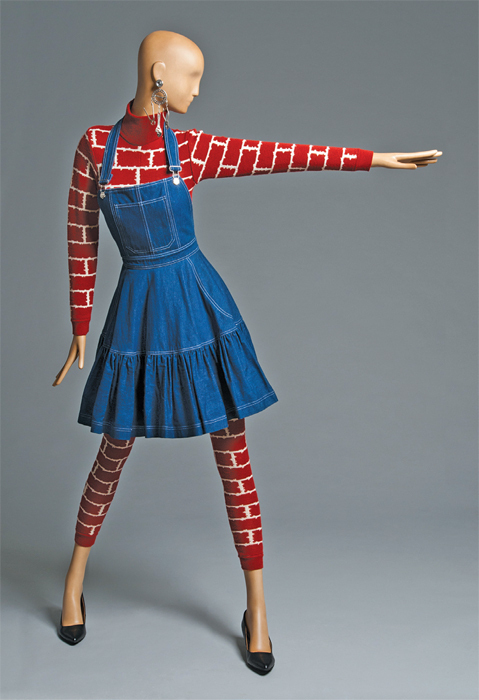 Patrick Kelly, fall/winter jumpsuit and apron, 1987, jumpsuit: wool and acrylic knit; apron: cotton twill denim, metal.