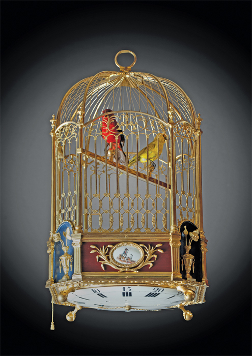 "Jaquet-Droz, singing bird cage automaton clock accompanied by six melodies, ca. 1785, brass, gold, enamel, mixed media, 20 1/4 x 12 x 12"". From ""Art or Sound."""