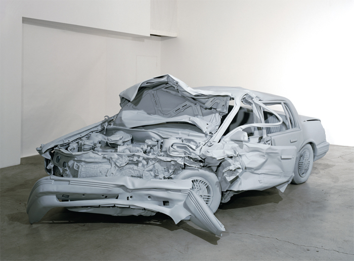 "Charles Ray, Unpainted Sculpture, 1997, fiberglass, paint, 5' 7"" x 6' 6"" x 14' 3""."