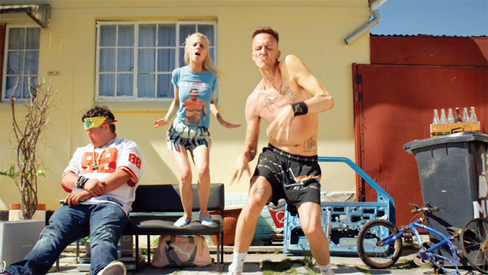 *Still from Die Antwoord's 2010 video _Zef Side_, directed by Sean Metelerkamp.*