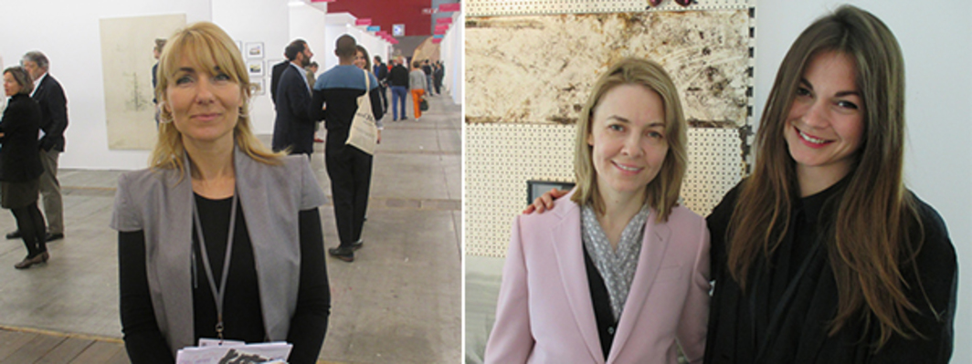 Left: Art Brussels director Katerina Gregos. Right: Dealer Elizabeth Dee and artist Gabriele Beveridge. (All photos: Julian Elias Bronner)