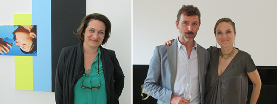 Left: Dealer Catherine Bastide. Right: Artist Philippe Terrier-Hermann and collector Nathalie Guiot.