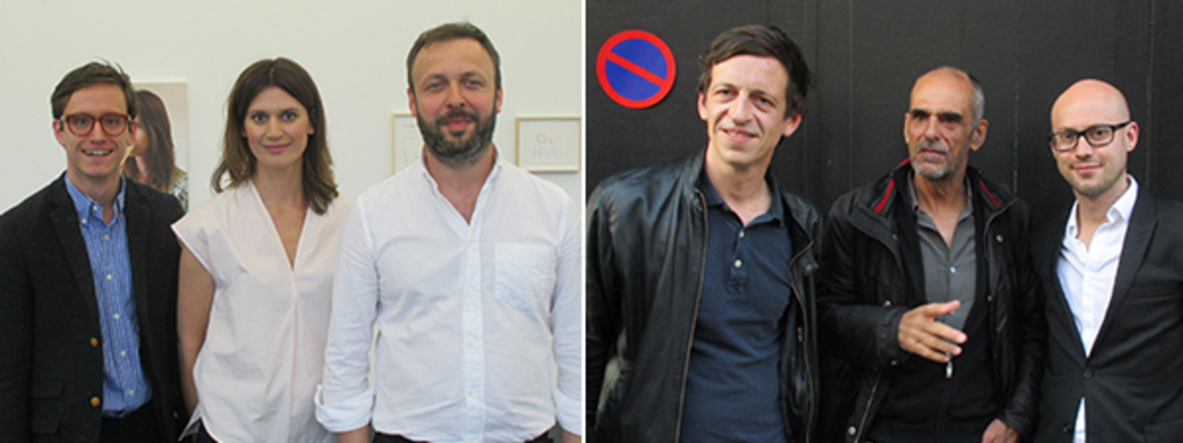 Left: Office Baroque's Louis-Philippe Eckhoutte, Marie Denkens, and Wim Peeters. Right: Artists Tjorg Douglas Beer and Kees Visser with art adviser Vincent Matthu.
