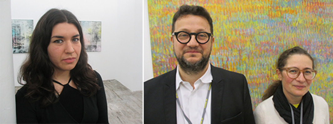 Left: Artist Donna Huanca. Right: Dealers Philippe and Frédérique Valentin.