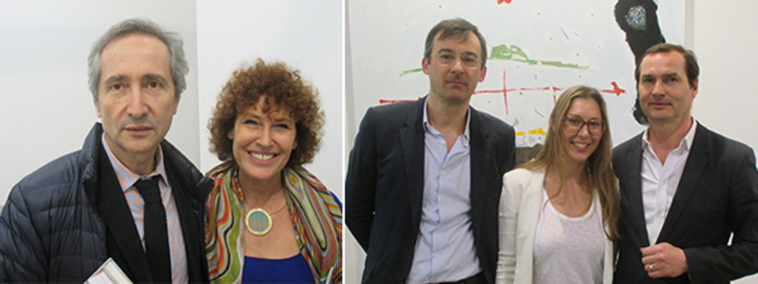 Left: Centre Pompidou director Bernard Blistène and dealer Natalie Seroussi. Right: Wiels Contemporary Art Center director Dirk Snauwaert, Kunsthalle Basel director Elena Filipovic, and Dépendance's Michael Callies.