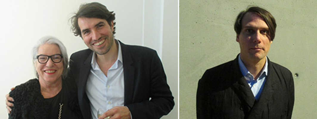 Left: Dealers Greta Meert and son Frédéric Mariën. Right: Artist Gregor Hildebrandt.