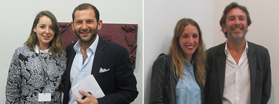 Left: Dealer Hannah Hoffman and art adviser Sacha Zerbib. Right: Artist Sophie Giraux and art consultant Patrick Letovsky.