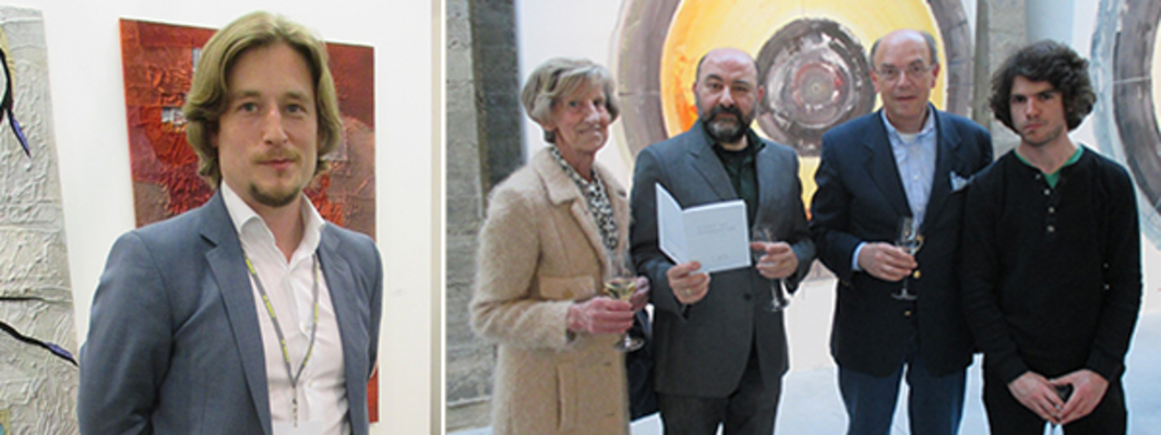 Left: D+T's Grégory Thirion. Right: Collector Mimi Dusselier, artist Pierre Bismuth, collector Bernard Soens, and artist Manu Engelen.