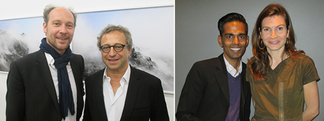 Left: Art adviser Gregory Lang and collector François Blanc. Right: Artist Baptist Coelho and curator Julia Marchand.