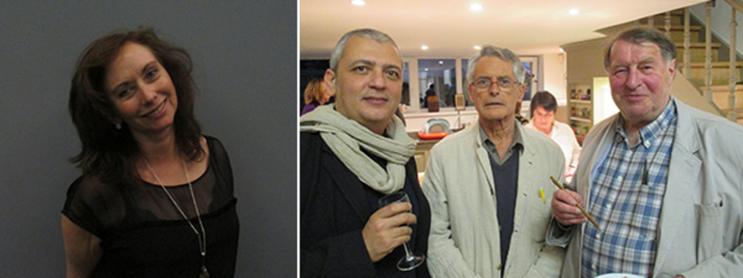 Left: Collector Anita Zabludowicz. Right: Artist Akram Zaatari, collector Herman Daled, and artist Franz Erhard Walther.