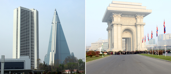 Left: Ryugyong Hotel (right). Right: Arch of Triumph.