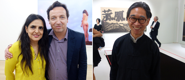 Left: Artist Bharti Kher with dealer Emmanuel Perrotin. Right: Dealer Johnson Chang.