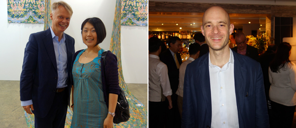 Left: Dealer Michael Janssen with artist Aiko Tezuka. Right: Dealer Edouard Malingue.