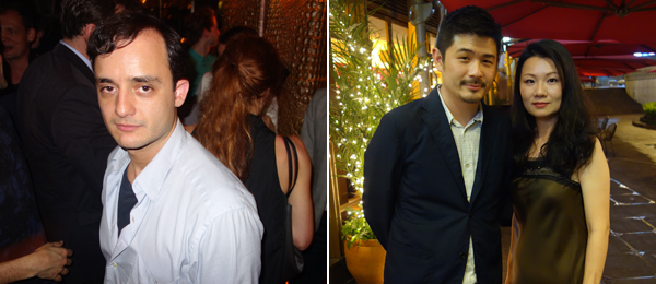 Left: Promoter Tolga. Right: M+ curator Aric Chen with Art Basel's Luluc Huang.