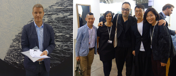 Left: Dealer Lorcan O'Neill. Right: MoMA PS1 curator Christopher Lew with M+ curators Pauline J. Yao, Yung Ma, and Doryun Chong and dealer Atsuko Ninagawa.