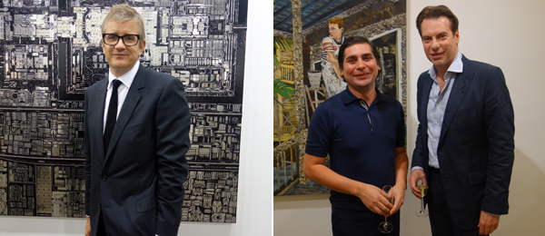 Left: Dealer Jay Jopling. Right: Artist Hernan Bas with dealer David Maupin.