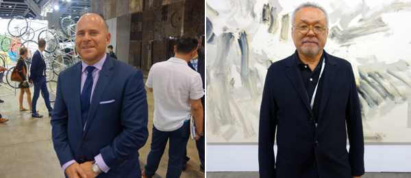 Left: Art Basel director Marc Spiegler. Right: SCAI The Bathhouse's Masami Shiraishi.