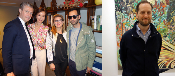 Left: Curator Jérôme Sans (left) dealer Almine Rech, and artist Alex Israel (right). Right: Armory Show executive director Noah Horowitz.