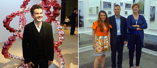 Left: Artist Jean-Michel Othoniel. Right: Dealer Maria Florut, Markus Rischgasser, and Eva Presenhuber.