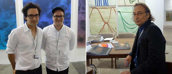Left: Dealer François Ghebaly and artist Sayre Gomez. Right: Dealer Lorenz Helbling of ShanghART.