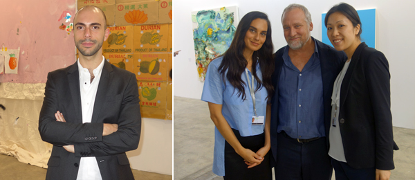 Left: Dealer Felipe Dmab at Mendes Wood Gallery. Right: Dealers Sarvia Jasso, Jeff Poe, and Renna Okubo.