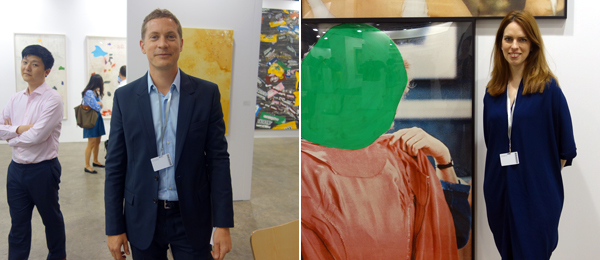 Left: Dealer Niklas Svennung. Right: Dealer Courtney Plummer at Marian Goodman Gallery.