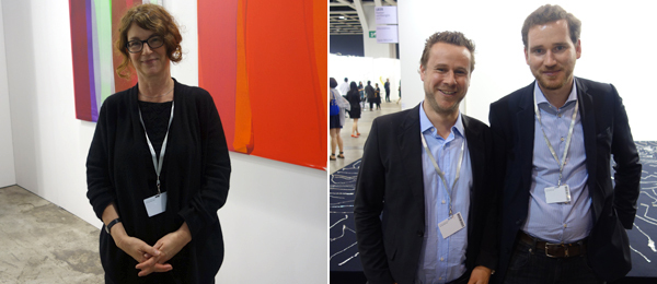 Left: Dealer Susanne Vielmetter. Right: Dealers Beat Raeber and Matthias von Stenglin.