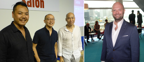 Left: Artists Chow Chun Fai, Lam Tung Pang, and Leung Chi Wo. (Photo: Kate Sutton) Right: Art Basel's Magnus Renfrew.